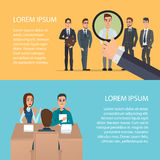 Selection of business staff. Cartoon poster vector illustration. Banners for your web design in business style. Template for your text. Business characters set Royalty Free Stock Photo