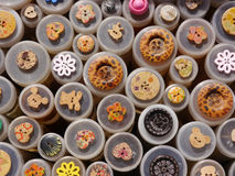 Selection of Buttons: Brown-Red-Yellow-White. Selection of differently shaped and patterned buttons in shades of brown, red, yellow or white stock images