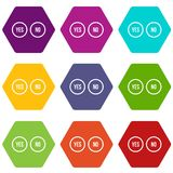 Selection buttons yes and no icon set color hexahedron Stock Image
