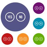 Selection buttons yes and no icons set Stock Photo
