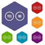 Selection buttons yes and no icons set Royalty Free Stock Photography