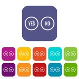 Selection buttons yes and no icons set Stock Photography