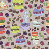 Selection cakes, Pattern colorful macaroons and cakes Stock Photography