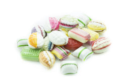 Selection of candies isolated on white. Background Royalty Free Stock Images