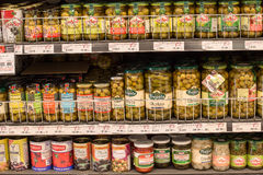 Selection canned foods in a supermarket Siam Paragon in Bangkok, Thailand Stock Photos