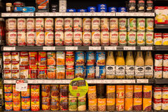Selection canned foods in a supermarket Siam Paragon in Bangkok, Thailand Royalty Free Stock Images