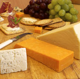 Selection of cheese and crackers Royalty Free Stock Photography