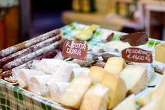 Selection of cheeses on typical italian farmer market Royalty Free Stock Images