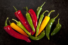 Selection of Chili Peppers Royalty Free Stock Photos