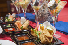Selection of chinese appetizers in a restaurant Royalty Free Stock Photos