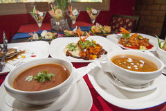 Selection of chinese food in a restaurant. Various selection of chinese meals on table in restaurant Royalty Free Stock Photography