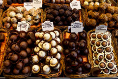Selection of chocolate. In a row Royalty Free Stock Photo