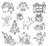 Selection of Christmas symbols. Hand drawn. Vector illustration Stock Image