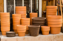 Selection of clay planters Royalty Free Stock Images