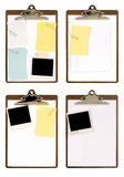 Clipboard polaroid blank paper isolated white background Stock Images