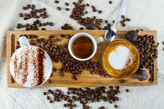 Selection of coffees Royalty Free Stock Image
