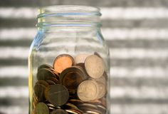 American Dollar Currency Coins in Jar Pennies Nickels Quarters Dimes. A selection of coins American dollar contained in a glass jar royalty free stock photo