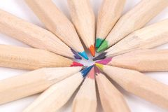 Selection of colored pencils made of natural Stock Image