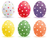 Dotted eggs. A selection of colored polka dot eggs Royalty Free Stock Photos