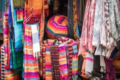 Selection of colorfu clothes on a traditional Moroccan market s. Ouk in Marrakech, Morocco Stock Image