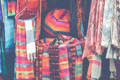 Selection of colorfu clothes on a traditional Moroccan market s. Ouk in Marrakech, Morocco Royalty Free Stock Image