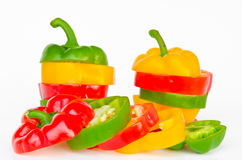 A selection of colorful bell peppers sliced in pieces to make on Royalty Free Stock Photo