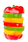 A selection of colorful bell peppers sliced in pieces to make on Royalty Free Stock Image