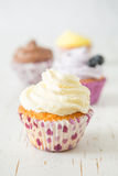 Selection of colorful cupcakes, white background stock photography