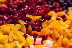 Selection of colorful dried fruit pieces Royalty Free Stock Photos