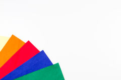 Selection of colorful felt sheets on white background. Top view royalty free stock photos