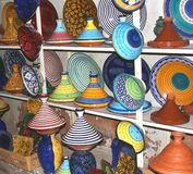 A selection of colorful Moorish pottery, Marrakesh,Marocco Stock Photos