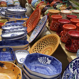 Selection of colorful pottery Royalty Free Stock Photos