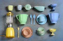 Selection of colorful retro plastic kitchenware Royalty Free Stock Photography