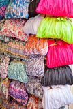 Colorful women scarves at a market. Selection of colorful women scarves at a market Royalty Free Stock Photo