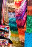 Colorful women scarves at a market. Selection of colorful women scarves at a market Stock Images