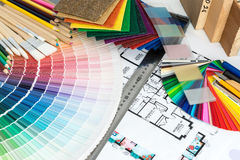 Selection of colors and materials for home renovation Stock Images