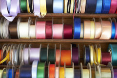 Selection Of Colourful Ribbons On Stall Stock Image