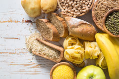 Selection of comptex carbohydrates sources on white background Royalty Free Stock Image