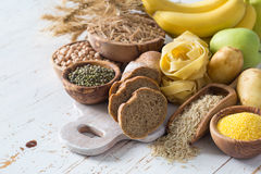 Selection of comptex carbohydrates sources on white background royalty free stock photos