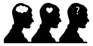 Selection concept. brain, heart or soul. Silhouettes of a man against a white background royalty free illustration