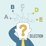 Selection concept. A man is confused by different choices in line style Stock Photos
