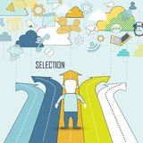 Selection concept. A man standing in front of bifurcation intersection in line style Royalty Free Stock Images