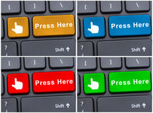 Selection concept with press here button Royalty Free Stock Photos