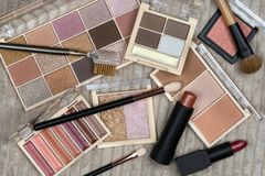 Selection of cosmetics and makeup royalty free stock photography