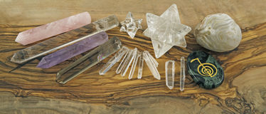 Selection of Crystal healer's tools Stock Image