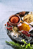 Selection of culinary spices and herbs. Arranged on an old round plate on a texture grey background with copy space Royalty Free Stock Image