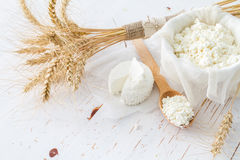 Selection of dairy products and wheat Stock Image