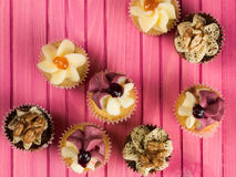 Selection of Decorated Fairy or Fancy Cakes Stock Photography
