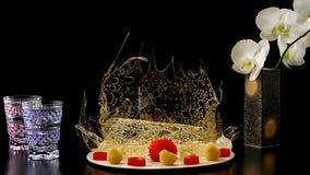 Selection of decorative desserts on dark background stock photo