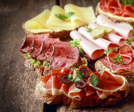 Selection of delicious open sandwiches Royalty Free Stock Photo
